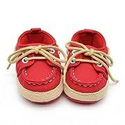 Voberry® Newborn Baby Boys' Premium Soft Sole Infant Prewalker Toddler Sneaker Shoes (0~6 Month, Red)