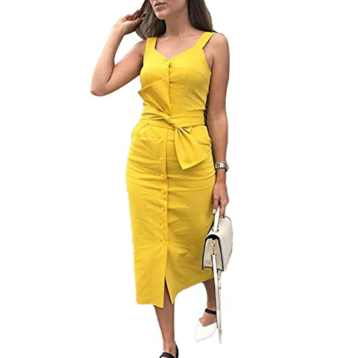 afaccede9377 Amazon.com  Ss-Lqlhy Summer Women Dress Solid Color Single Breasted  Sleeveless Knotted Knee Length Yellow S  Clothing