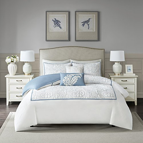 Harbor House Boxton Duvet Cover King Size - Blue, Ivory , Quilted Paisley Embroidery Duvet Cover Set - 6 Piece - 100% Cotton Light Weight Bed Comforter ()
