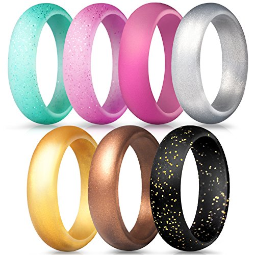 ThunderFit Silicone Rings, 7 Pack Wedding Bands for Women - 5.5 mm Wide (Teal Black Pink Glitter, Pink Bronze Silver Gold, 3.5-4 (14.9mm)) (Wearing A Ring On Your Little Finger)