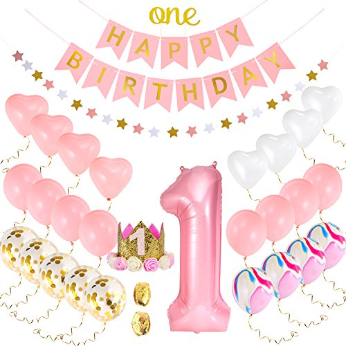One First Birthday Decorations set for Baby Girl |1st Birthday Girl Set:1st Pink Number 1 Balloon,Happy Birthday Banner,1st Birthday Baby Princess Tiara Crown,One Cake Topper,Marble, Gold Confetti, Pink, Heart Balloons
