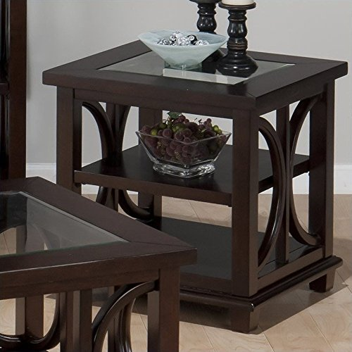3 Shelf Square Table (Jofran 966-3 Concentric Circle Design Beveled Glass End Table in Panama Brown)