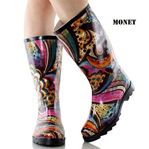 Women's Weather Boots Rubber Leopard Mid La Monet Zebra in French Grafitti Calf Rain Proof Bella Fashion H4xFxXE