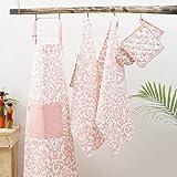 Kitchen combo Set, 100% Cotton, Set of Apron + Oven Mitten + Potholder & Pair of Kitchen towel, Eco - Friendly & Safe, Pink Baroque Design for Kitchen