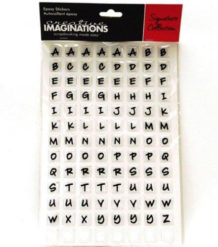 (Alphabet Squares Epoxy Scrapbook Stickers)
