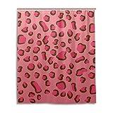 Pink Leopard Print Shower Curtain Mohado Home Decor Shower Curtain with Hooks - Pink Leopard Print - Bath Decorations Bathroom Décor Mildew Resistant Anti-Bacterial - 60 x 72 inches