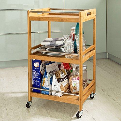 Sobuy carrito de cocina estanter a de cocina estanter a de ba o de bamb con ruedas fkw15 n - Amazon estanterias bano ...