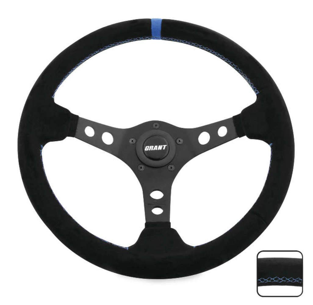 Grant 696 Suede Wrapped Racing Steering Wheel with Blue Top Marker