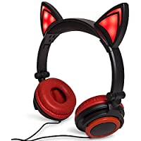 Red Cat Ear Headphones Flashing Glowing Cosplay Kids Foldable Gaming Headsets Earphone with LED Flashing Light for iPhone 6S,Android Mobile Phone,PC Laptop Computer