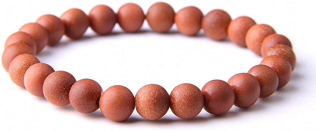Hynsin Natural Gold Sand Bracelets 8//10 mm Sandstone Stretch Bracelets for Women Men Jewelry Gifts