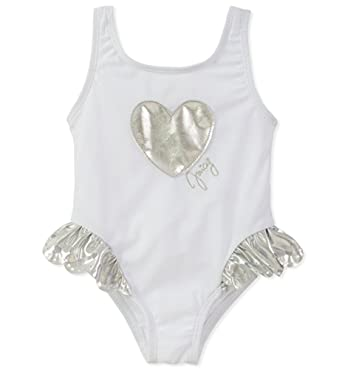 c17f699999c Amazon.com: Juicy Couture Little/Big Girls White & Silver One-Piece Swimsuit:  Clothing
