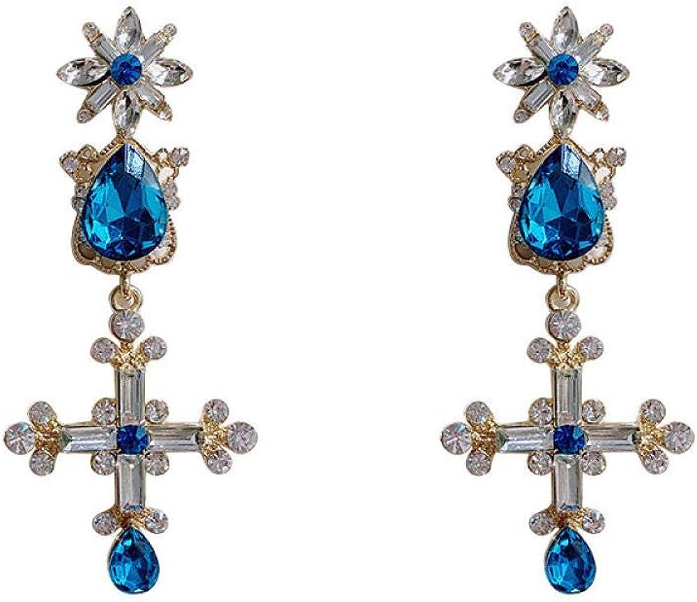 S925 pendientes de plata esterlina, flores pendientes de piedras preciosas de cristal en forma de gota damas
