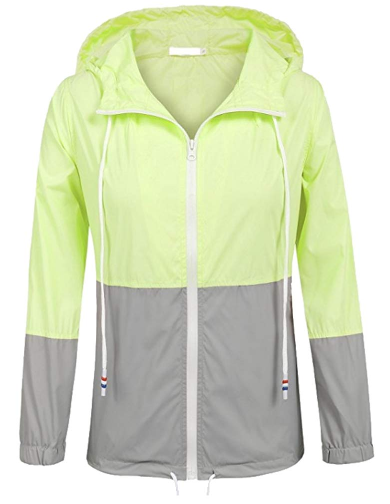 Vanbuy Women's Waterproof Raincoat Lightweight Outdoor Hooded Rain Jacket Windbreaker Z172-Light Green-S