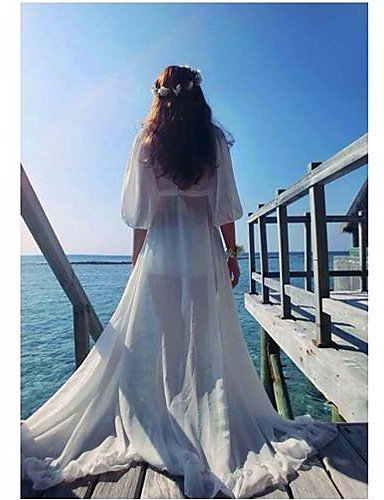 PU&PU Robe Aux femmes Ample Sexy / Plage , Couleur Pleine Asymétrique Maxi Mousseline de soie , white-one-size , white-one-size