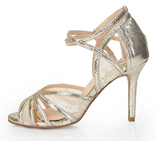 Hollow Lace Strap Sandals Gold Heel Honeystore Out Women's Stiletto tpqqxwg