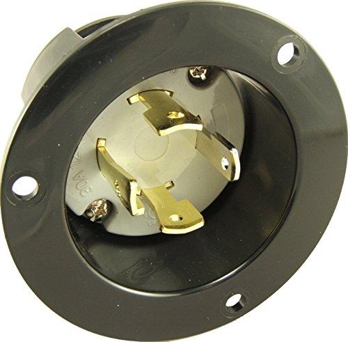 Journeyman-Pro 2715, NEMA L14-30 Flanged Inlet Generator Plug, 30A 125/250 Volt, Locking Receptacle Socket, Black Industrial Grade, Grounding Welding Use 7500 Watts