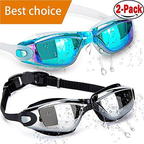 Swim Goggles, Pack of 2, Swimming Goggles ,Swim Goggles for Adult Men Women Youth Kids Child, Anti Fog UV Protection Lenses By HOOLRO