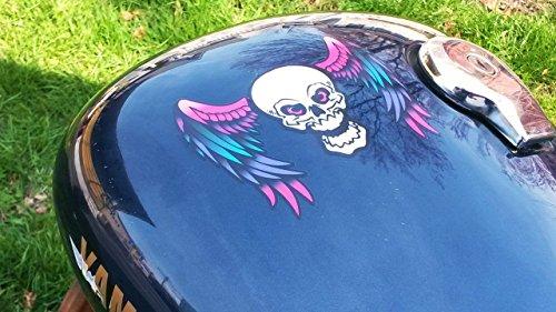 East Coast Vinyl Werkz Winged Skull decals - 6pc sticker set - For Harley Honda & all motorcycles car truck helmet laptop (Color Bubblegum).