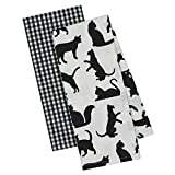 DII Design Imports Cat's Meow Dish Towel Set of 2 Black White