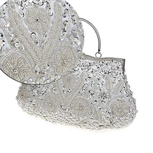catena a tracolla Borsa tracolla Donna da sera borsa Piccola a matrimonio nero Bianco borse a colore perline per pvwqHzp8
