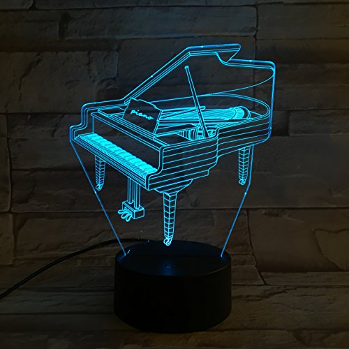 LE3D 3D Optical Illusion Desk Lamp/3D Optical Illusion Night Light, 7 Color LED 3D Lamp, Piano 3D LED For Kids and Adults, Piano Light Up