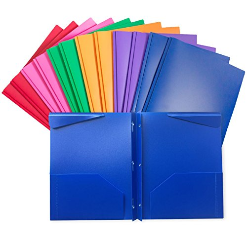 Assorted Color 2 pockets Poly Portfolio with 3 Prong Fasteners,12 Pack
