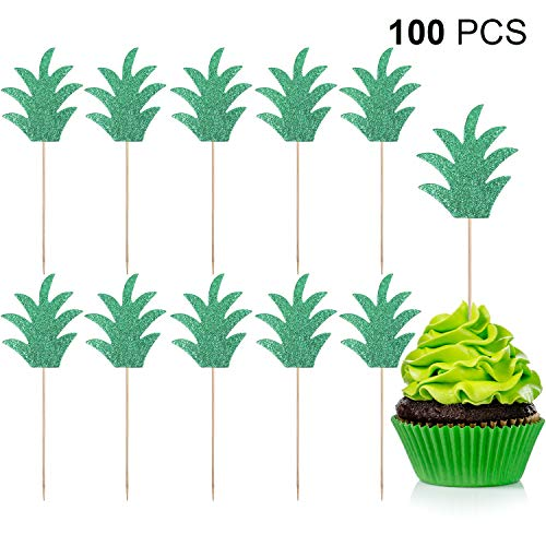 100 Pieces Pineapple Cupcake Toppers Glitter Pineapple Picks Cake Topper for Hawaii Luau Tropical Summer Party Decorations