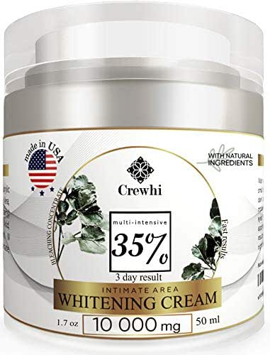 Skin Whitening Cream for Sensitive & Intimate Areas - Bleaching Gel for Body, Face, Bikini - Natural Lightening & Skin Care - Bleach dark spot removal for Women and Men - 35% percent