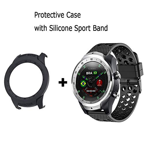for TicWatch Pro Band with Case, Sport Shock-Proof and Shatter-Resistant PC Protective Case Cover with Silicone Sport Band for TicWatch Pro Smartwatch (Black case with Black Band)