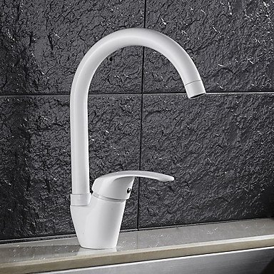 ZYT High Quality Brass Paint White Single Handle One Hole redatable Kitchen Sink Faucet
