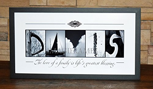 Life's Greatest Blessing Family Sign - Framed Photo Letter Art - Personalized Alphabet Photography - Custom Name Sign