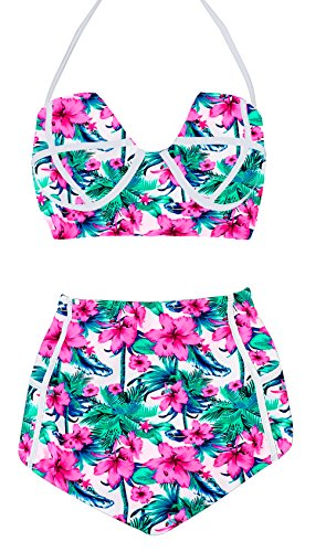 LA PLAGE Women's High Waist Vintage Push Up Padded floral swimsuit size L floral - Hot Women Full