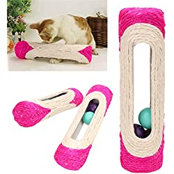 1 Pcs Animal Supplies Pet Cat Kitten Kitty Toy Long Rolling Scratching Toys Ball Sisal Scratch Post Trapped Ball Training Tool, Rolling Scratching