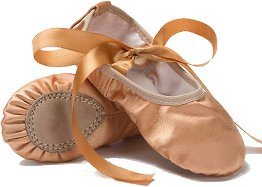 MSMAX Classic Ballet Slippers Satin Performa Dance Flats with Ribbon for Girls (Toddler/Little Kid/Big Kid)