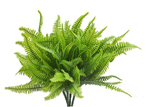 Bird Fiy 4Pcs Artificial Boston Fern Bush Plant Shrubs Greenery Bushes Indoor Outside Home Garden Office Verandah Wedding Decor