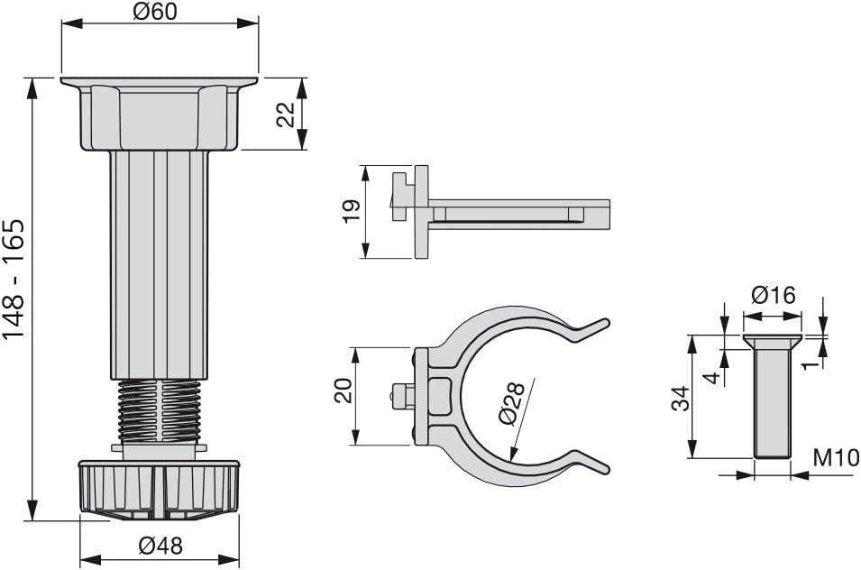 satz aus 4 m/öbelf/ü/ße verstellbar mit Montagezubeh/ör H 100mm Emuca Sockelfu/ß h/öhenverstellbar f/ür K/üche oder Bad Schwarz