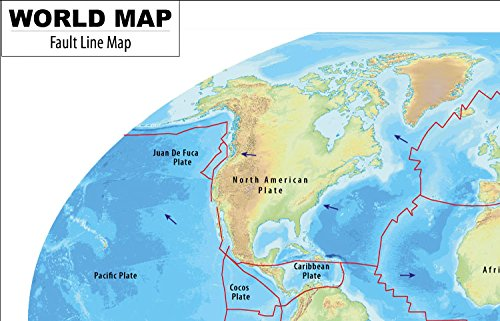 Amazoncom World Map Of Fault Lines Laminated W X - Fault line world map