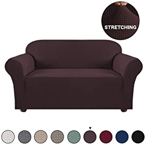 Turquoize 1 Piece Sofa Cover for Loveseat Sofa Slipcover for Living Room Furniture Cover/Protector for 2 Cushion Couch Spandex Slipcover Stylish Jacquard Couch Cover (Loveseat, Brown)