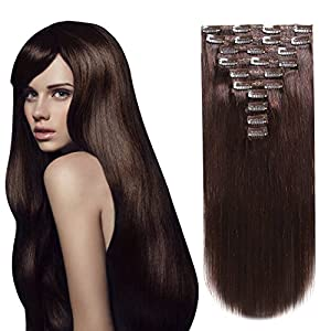 HEESAGA Clip in Real Human Hair Extensions, 14 Inch 120 Grams/4.2 Ounce 10 Pieces with 22 Clips per Set (#2 Dark Brown)