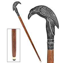 Design Toscano Edgar Allen Poe's Mystic Raven Gothic Walking Stick Swagger Cane, 37 Inch, Hardwood, Black