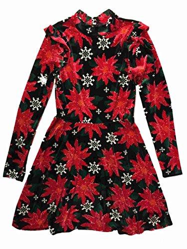 Xhilaration Junior Womens Black & Red Poinsettia Holiday Dress Ugly Christmas Flower ()