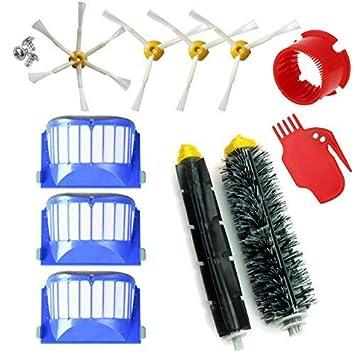 MIRTUX Kit de repuestos compatible con Roomba serie 600. Pack de cepillos y accesorios reemplazo de aspiradora 605 610 612 615 616 620 621 630 631 645 ...