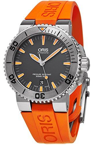 Oris Aquis Mens Grey Face Date Automatic Orange Rubber Strap Swiss Watch 73376534158RS