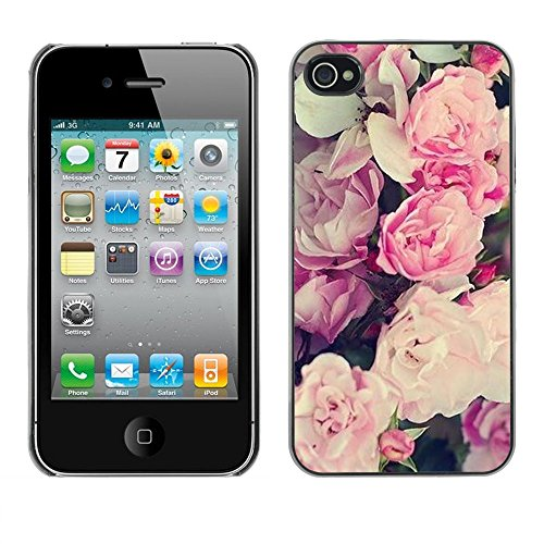 Soft Silicone Rubber Case Hard Cover Protective Accessory Compatible with Apple iPhone? 4 & 4S - pink summer spring flowers petals