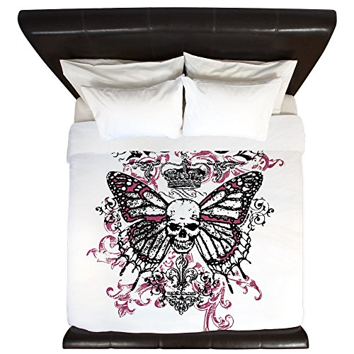 - King Duvet Cover Rebel Butterfly Skull Goth