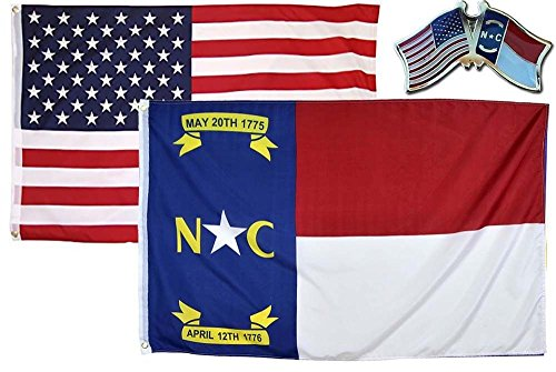 ALBATROS USA with State of North Carolina 2 ft x 3 ft 2x3 Flag with Lapel Pin for Home and Parades, Official Party, All Weather Indoors Outdoors
