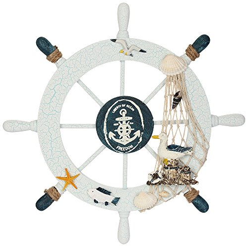 Boat Wheel - Rienar Nautical Beach Wooden Boat Ship Steering Wheel Fishing Net Shell Home Wall Decor(Sea Bird)