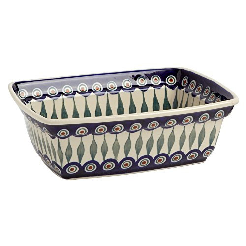 "Extra Heavyweight Deep Dish - Polish Pottery Peacock Feathers Rectangular Deep Heavyweight Baking Dish, Ivory and Blue, 10""L x 7.5""W x 3.25""H"