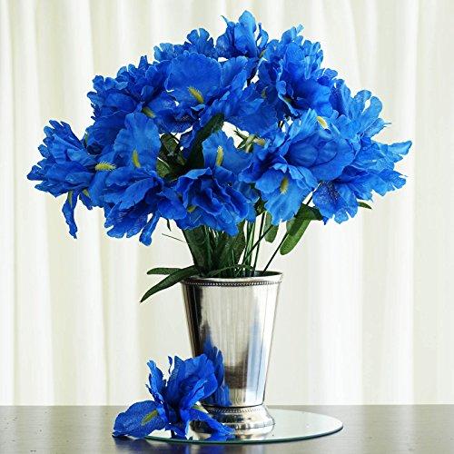BalsaCircle 60 pcs New Blue Silk Iris Flowers - 12 Bushes - Artificial Wedding Party Centerpieces Arrangements Bouquets Iris Arrangement