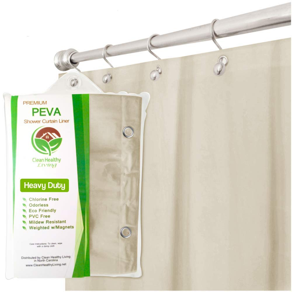 Clean Healthy Living Heavy Duty PEVA Shower Liner Curtain Odorless Anti Mold With Magnets Suction Cups Its 70 X 71 In Long And Weight
